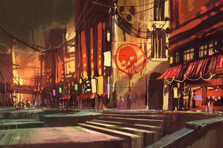 sci-fi scena che mostra la via dello shopping, paesaggio futuristico