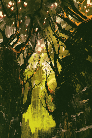 unusual: mysterious forest with unusual trees,digital painting