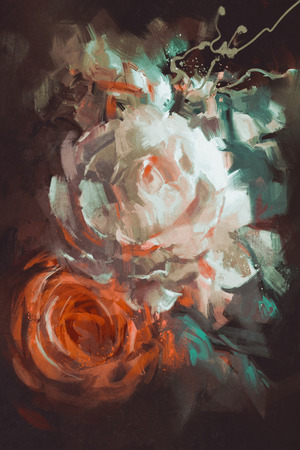 bouquet of roses with oil painting style