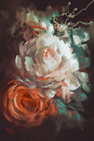 Mazzo di rose con stile pittura ad olio Archivio Fotografico - 52524926