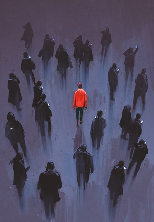 one people: one red man standing with other people with phone,unique person in the crowd,illustration