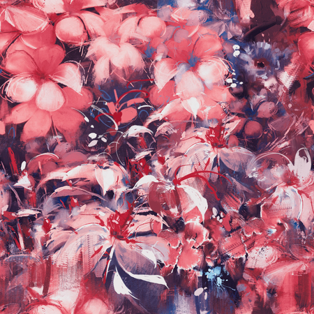 oil color: seamless abstract flowers,oil panting style Stock Photo