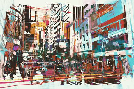 arte abstrata da vista da cidade, pintura ilustra Banco de Imagens