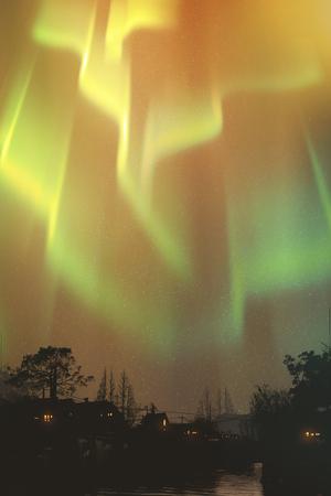 colourful sky: aurora borealis, northern lights above village,illustration painting Stock Photo