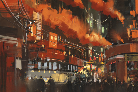 cyberpunk: sci-fi scene showing cyberpunk cityscape,illustration Stock Photo