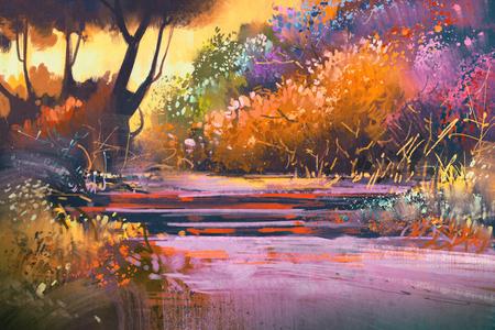 paesaggio con alberi colorati in foresta, illustrazione pittura