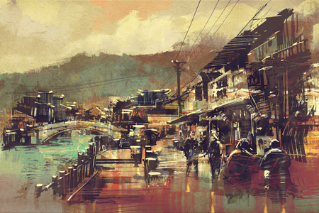 painting of village with a bridge and old buildings Stok Fotoğraf