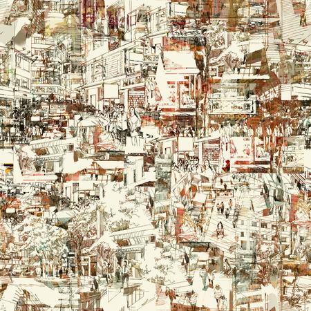 naadloze patroon met de hand getekende stedelijke stad, schets, tekening