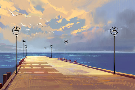seascape: bridge to the sea against beautiful sky,illustration painting