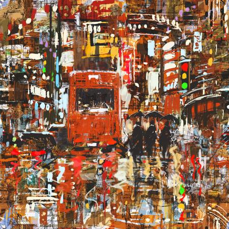 naadloze patroon met kleurrijke stedelijke stad, het abstracte schilderen Stockfoto