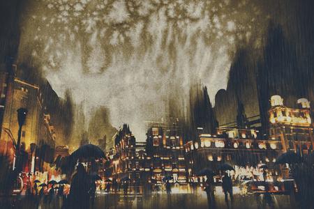 rainy night,crowds of people walking on street,illustration