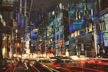 city lights: digital painting of city street at night with colorful lights.