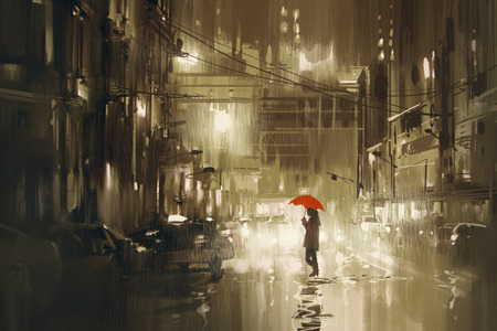 kobieta z czerwonym parasolem przez ulicę, deszczowa noc, ilustracja