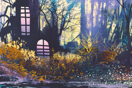 painting house: fantasy landscape with  house in tree trunk.illustration painting