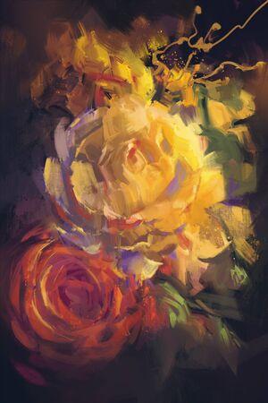 bouquet de roses colorées avec un style de peinture à l'huile Banque d'images