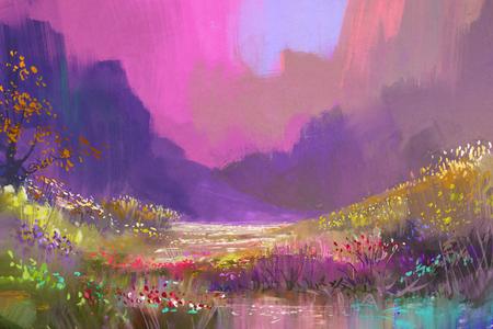 화려한 꽃과 산에서 아름 다운 풍경 디지털 페인팅 스톡 콘텐츠