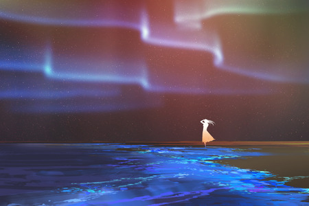 aurora borealis: woman standing on beach glows with Northern lights Aurora borealis above,illustration painting