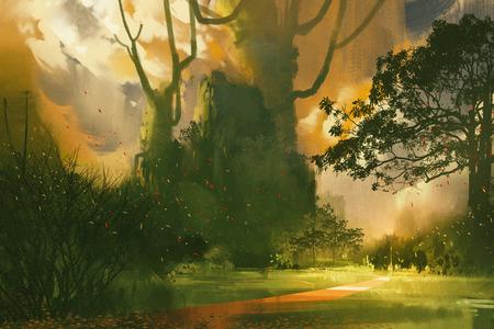Landschaftsmalerei, Gebirge, riesige Bäume