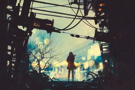 donna in piedi tra le rovine in cerca di fuori, illustrazione pittura