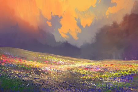 bunte Blumen im Feld unter schönen Wolken, Landschaftsmalerei Standard-Bild