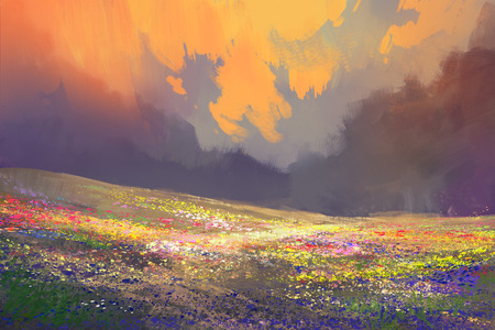 colorful flowers in field under beautiful clouds,landscape painting