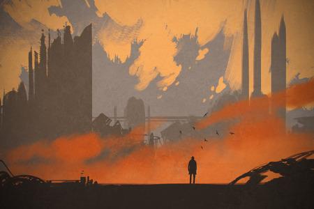 uomo in piedi in città abbandonata, illustrazione pittura Archivio Fotografico