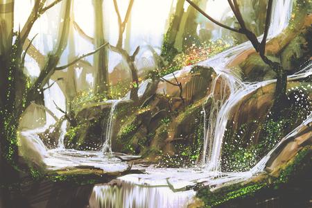 feuille arbre: cascade dans la forêt, illustration peinture