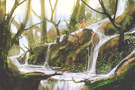 waterfall in forest,illustration painting Imagens