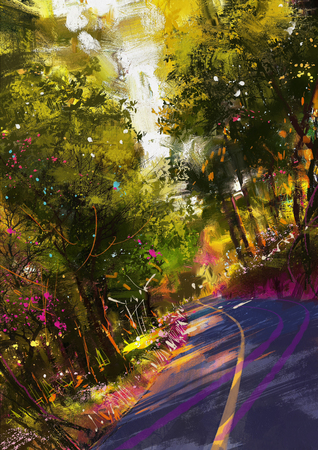 way: curve way of asphalt road surrounded by the colors of autumn leaves.digital painting