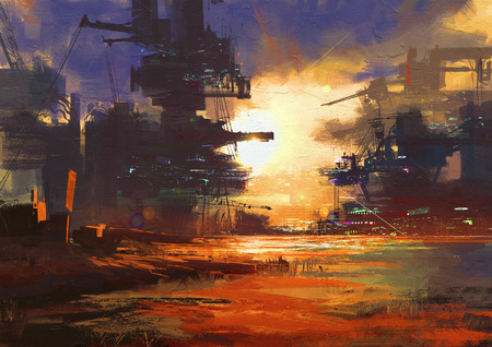 art painting: mega structure in sci-fi city at sunset,digital painting