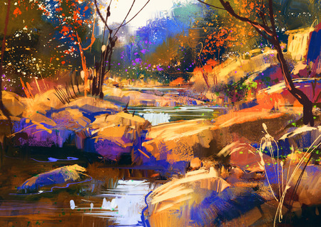 waterfall in forest: beautiful fall river lines with colorful stones in autumn forest,digital painting