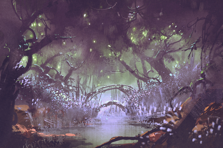 enchanted: enchanted forest,fantasy landscape painting Stock Photo