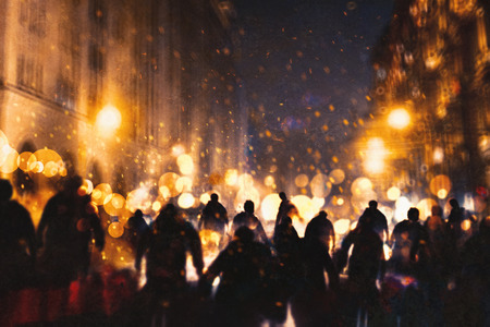 Grupa zombie spaceru przez płonące miasto, ilustracja malarstwo