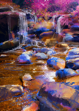 painting of beautiful river amongst colorful stones,waterfall