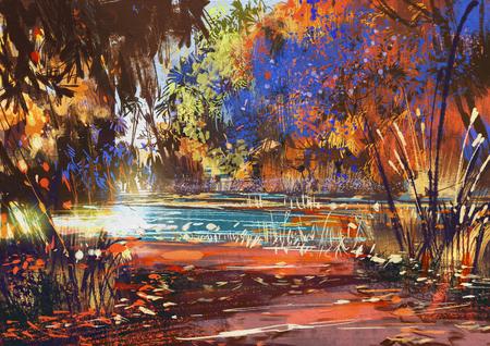 schöne Herbstlandschaft mit Blumen und See