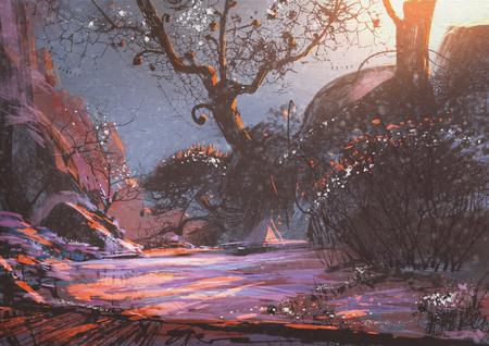 雪の中でファンタジーの木が美しい冬の日没