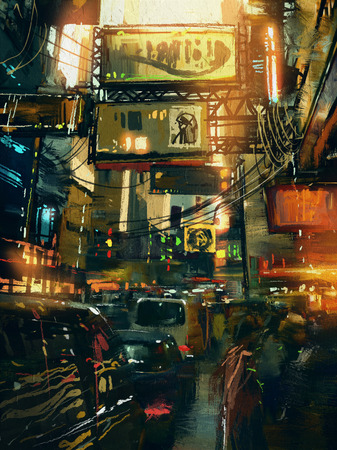 colorful painting of shopping street in modern city