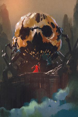 villain: illustration painting of villain standing in front of skull building