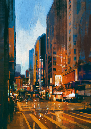urban street: painting of street in modern urban city at evening Stock Photo