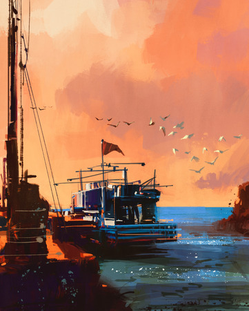 painting of fishing boat in port at sunset