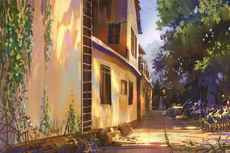 city alley: alleyway in old town,illustration painting