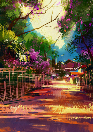 landscape painting of path leads to country village in spring