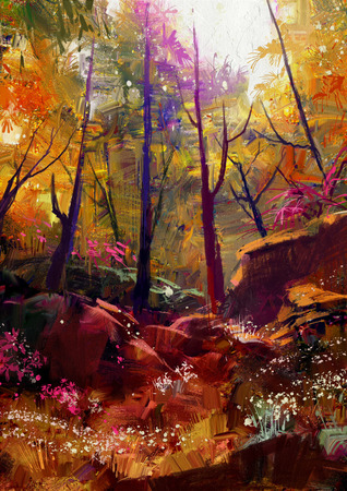 bright paintings: landscape painting of beautiful autumn forest with sunlight Stock Photo