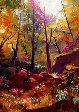 Landschaftsmalerei des schönen Herbstwald mit Sonnenlicht