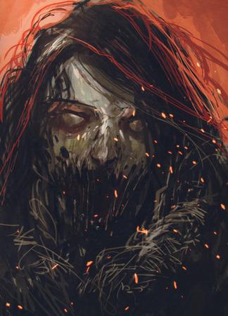 zombie face,horror portrait,illustration painting Stock Photo