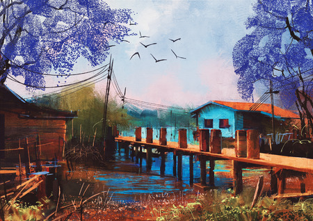 art painting: old fishing village,oil painting style