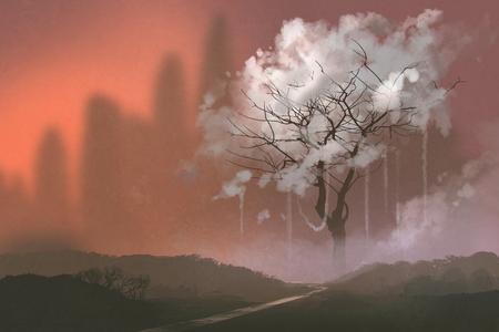 illustration and painting: cloud tree,illustration painting