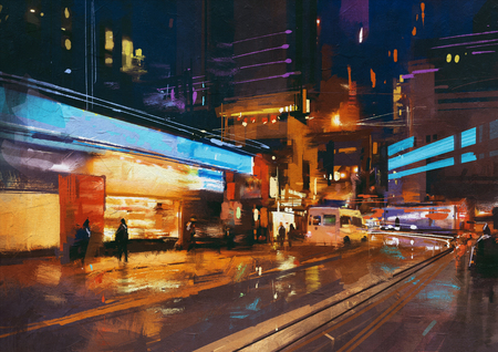 urban street: painting of street in modern urban city at night Stock Photo