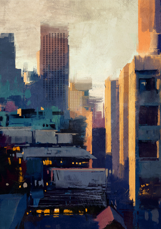 sky scraper: painting of skyscrapers at sunset Stock Photo