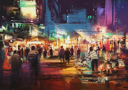 La peinture de la ville de la rue commerçante avec une vie nocturne colorée Banque d'images - 55394274